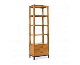 Masívna luxusná knižnica MADHU z dreva mindi s kovovou konštrukciou 190cm