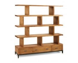 Masívna dizajnová knižnica MADHU z dreva mindi s poličkami a zásuvkami 170cm