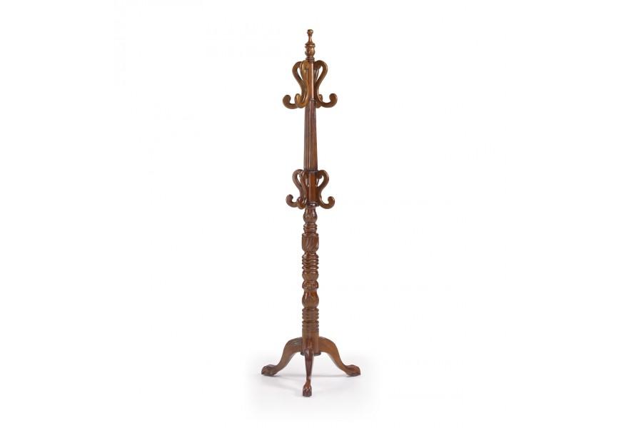Luxusný vyrezávaný vešiak M-Vintage z masívneho mahagónového dreva v rustikálnom štýle