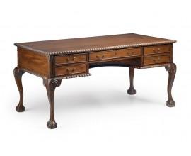 Rustikálny písací stolík M-VINTAGE z masívneho dreva tmavohnedej farby so zásuvkami 160cm