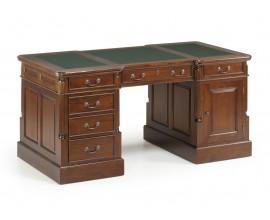 Rustikálny pracovný stolík M-VINTAGE z masívu so zásuvkami 160cm tmavohnedý