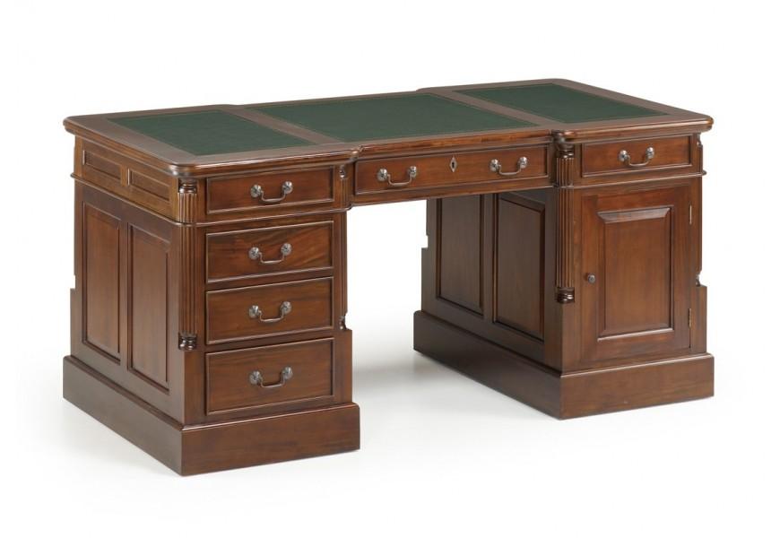 Rustikálny písací stôl M-Vintage s koženou pracovnou doskou mahagónovej tmavohnedej farby