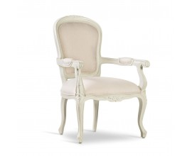Luxusná baroková jedálenská stolička M-Vintage z masívneho dreva bielej farby 96cm