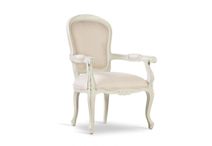 Rustikálna starožitná jedálenská stolička M-Vintage z masívneho mahagónového dreva v bielej farbe
