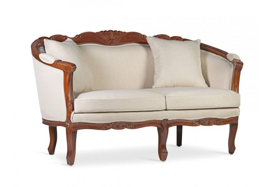 Luxusná koloniálna sedačka M-Vintage z mahagónového dreva s vyrezávaním a s béžovým poťahom