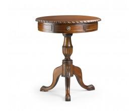 Rustikálny okrúhly príručný stolík M-VINTAGE z masívu v štýle chippendale 60cm