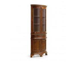 Rustikálna rohová vitrína M-VINTAGE z masívneho dreva tmavohnedej farby s dvierkami a zásuvkou 190cm