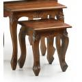 Luxusná sada troch rustikálnych konferenčných stolíkov M-Vintage z masívneho dreva