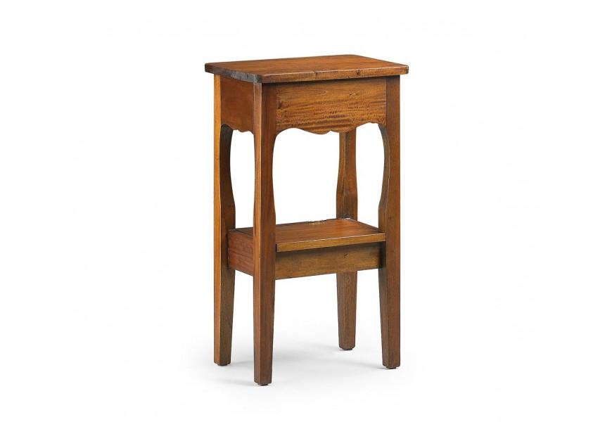Exkluzívny rustikálny telefónny stolík M-Vintage z masívneho mahagónového dreva s úložným priestorom
