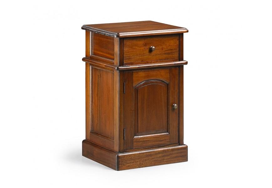 Koloniálny luxusný príručný stolík M-VINTAGE z masívneho mahagónového dreva so zásuvkou a dvierkami  cm