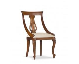 Rustikálna luxusná stolička M-VINTAGE z masívu hnedej farby s béžovým poťahom 90cm