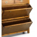 Klasický drevený botník Star z dreva mindi v hnedom odtieni s vyklápacími poličkami a zásuvkami 100cm
