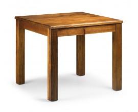 Elegantný masívny jedálenský stôl Star štvorcového tvaru z dreva mindi hnedej farby