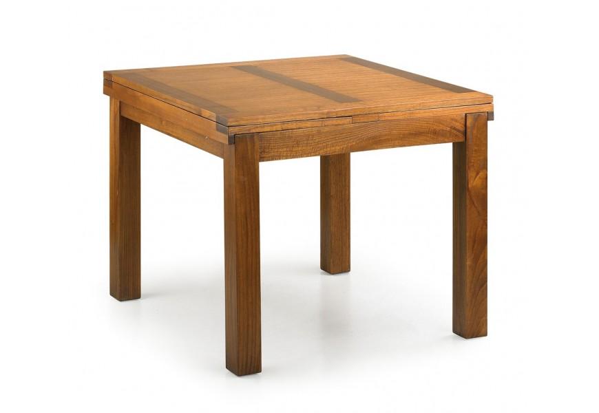 Jedinečný rozkladací jedálenský stôl Star z masívneho dreva mindi v hnedom prevedení