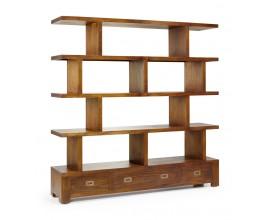 Masívna štýlová knižnica Star z dreva mindi s tromi zásuvkami 160cm