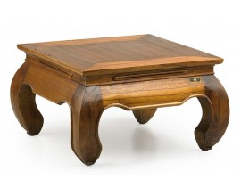 Masívny ornamentálny konferenčný stolík Star z dreva mindi štvorcový 60cm