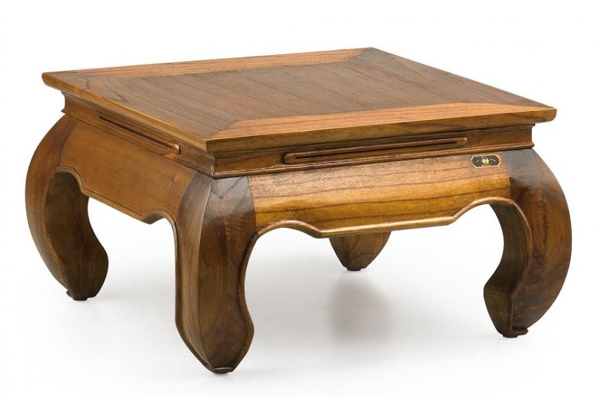 Elegantný vyrezávaný konferenčný stolík Star v rustikálnom štýle z masívu štvorcového tvaru