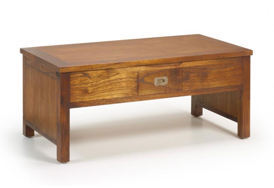 Dizajnový drevený konferenčný stolík Star z masívu mindi s výsuvnou doskou a zásuvkou