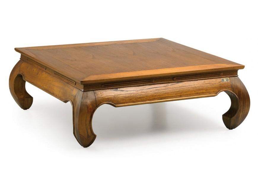 Luxusný konferenčný stolík Star štvorcového tvaru z masívneho dreva mindi hnedej farby