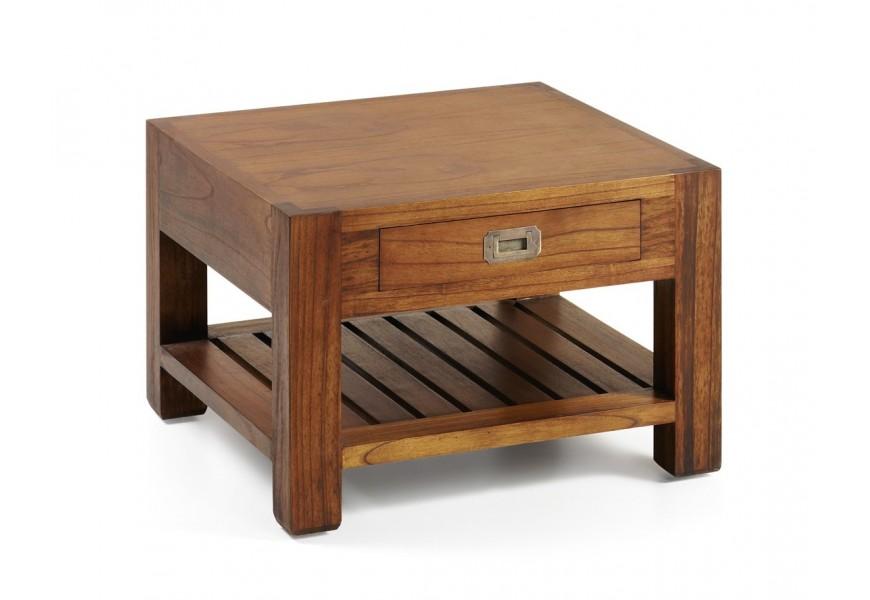 Elegantný drevený konferenčný stolík Star z masívu mindi hnedej farby s praktickou zásuvkou