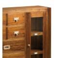 Klasická masívna konzola Star z dreva mindi so zásuvkami a poličkami s dvierkami 115cm