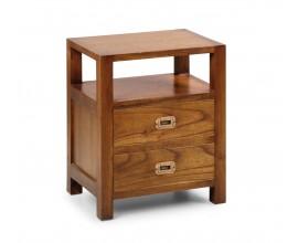 Masívny nočný stolík Star z dreva mindi v hnedej farbe s dvomi zásuvkami a poličkou