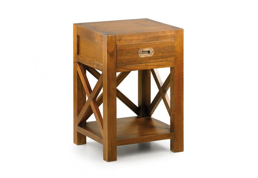 Jedinečný nočný stolík Star z masívneho dreva mindi hnedej farby so zásuvkou