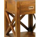 Masívny štýlový nočný stolík Star z dreva mindi hnedej farby so zásuvkou 60cm