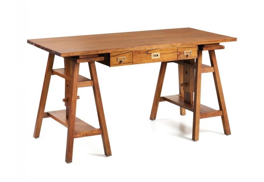 Masívny písací stôl Star z dreva mindi so zásuvkami výškovo nastaviteľný