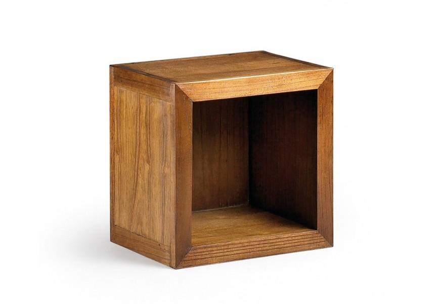 Elegantná praktická polička Star z masívneho dreva mindi hnedej farby štvorcového tvaru