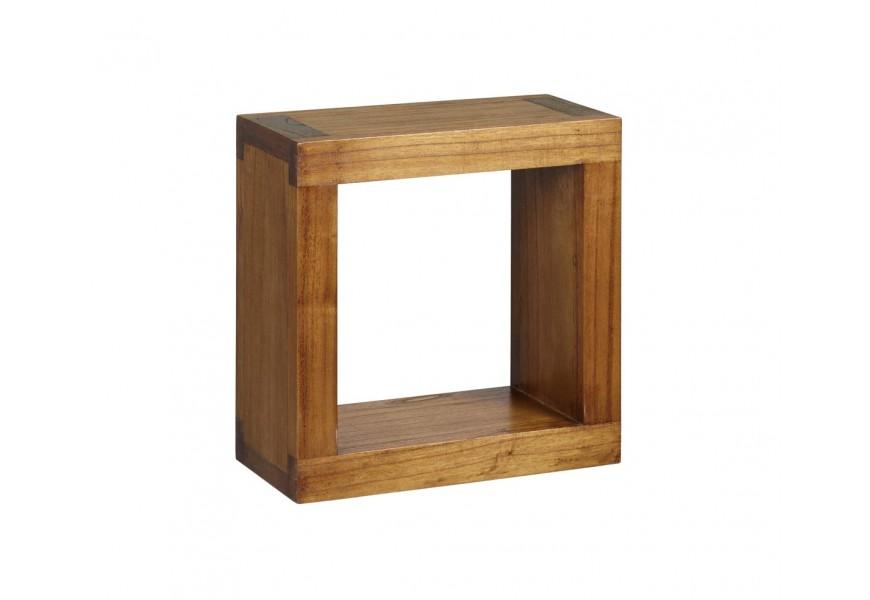 Elegantná polička Star z masívneho dreva mindi hnedej farby štvorcového tvaru