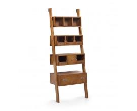 Masívny štýlový regál Star z dreva mindi hnedej farby s poličkami a zásuvkou 190cm