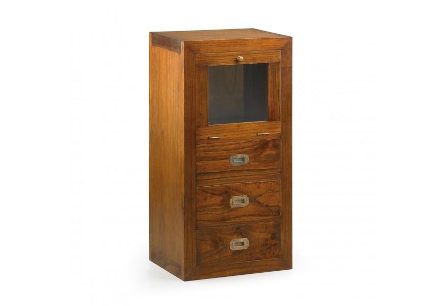 Luxusný skrinka Star z masívneho dreva mindi so zásuvkami a dvierkami