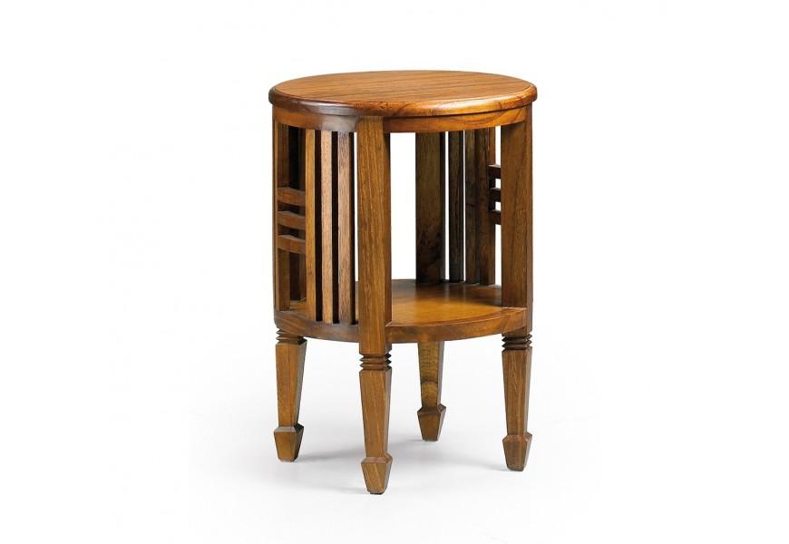 Elegantný drevený príručný stolík Star z masívu mindi v tmavohnedej farbe