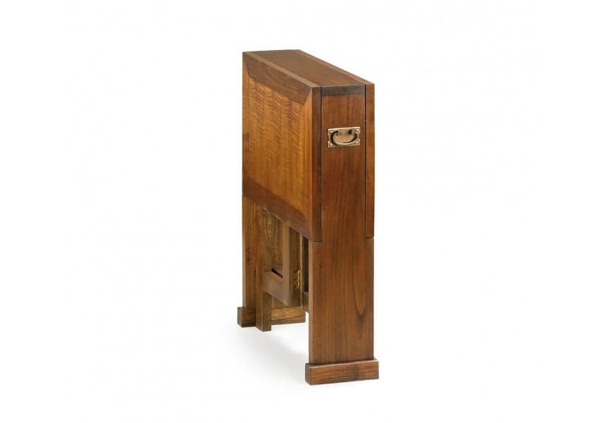 Masívny drevený príručný stolík Star s rozkladacou pracovnou doskou hnedej farby