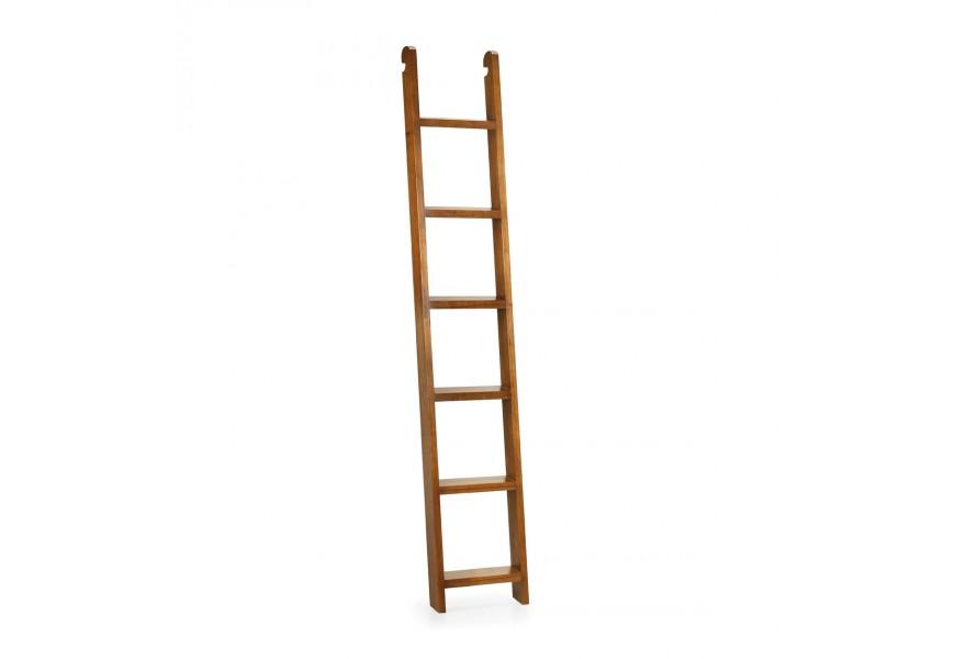 Elegantný rebrík Star z masívneho dreva mindi hnedej farby