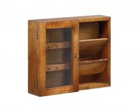 Masívna rustikálna skrinka z dreva mindi s poličkami a háčikmi kľúče so sklenenými dvierkami