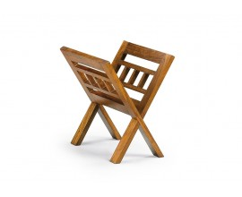 Elegantný drevený stojan na časopisy Star z masívu mindi v hnedom prevedení