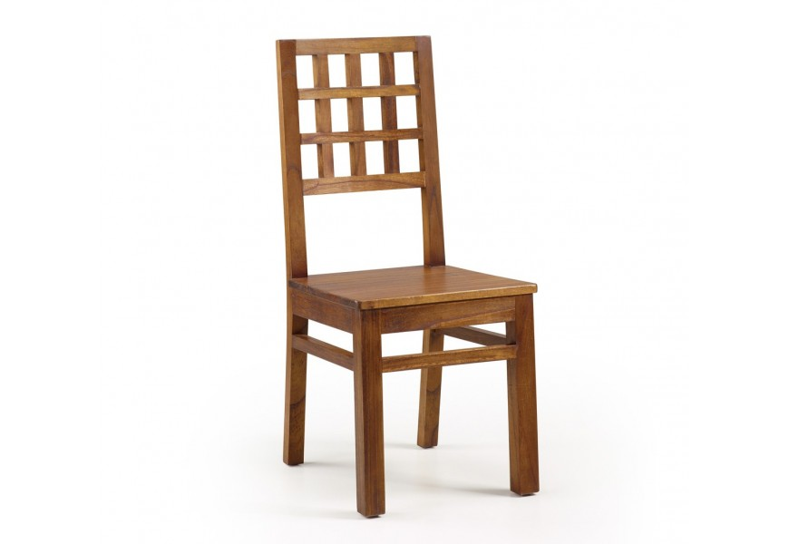 Štýlová klasická jedálenská stolička Star z masívneho dreva mindi v hnedej farbe