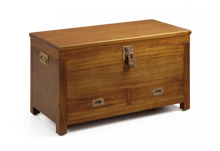 Vidiecka truhlica Star z masívneho dreva mindi hnedej farby s úložným priestorom a dvomi zásuvkami