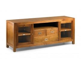 Luxusný TV stolík Star z masívneho dreva so sklenenými dvierkami a zásuvkami 150cm