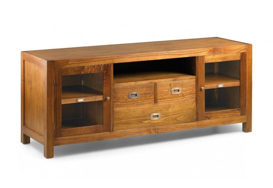 Elegantný drevený TV stolík Star z masívu hnedej farby so zásuvkami a dvierkami