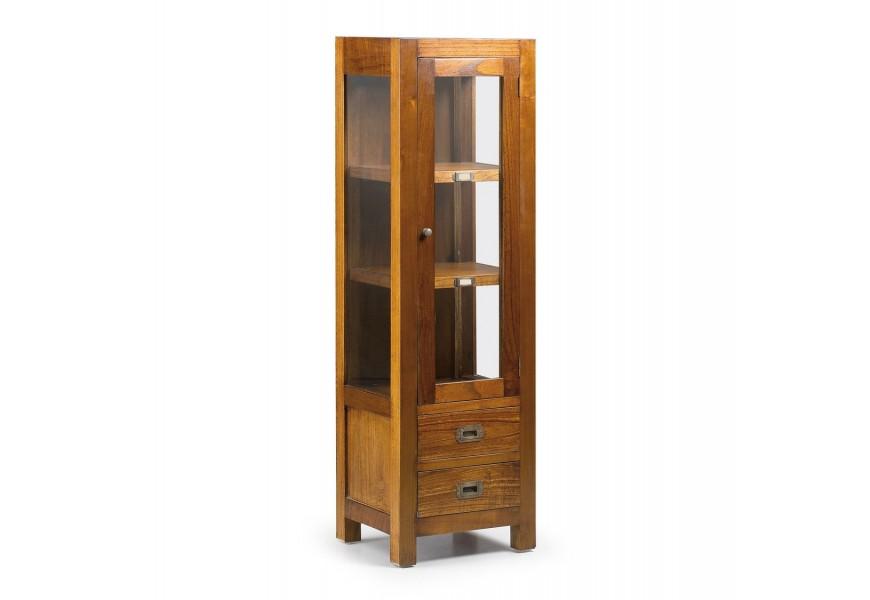 Luxusná elegantná vitrína Star z masívneho dreva mindi so zásuvkami a dvierkami
