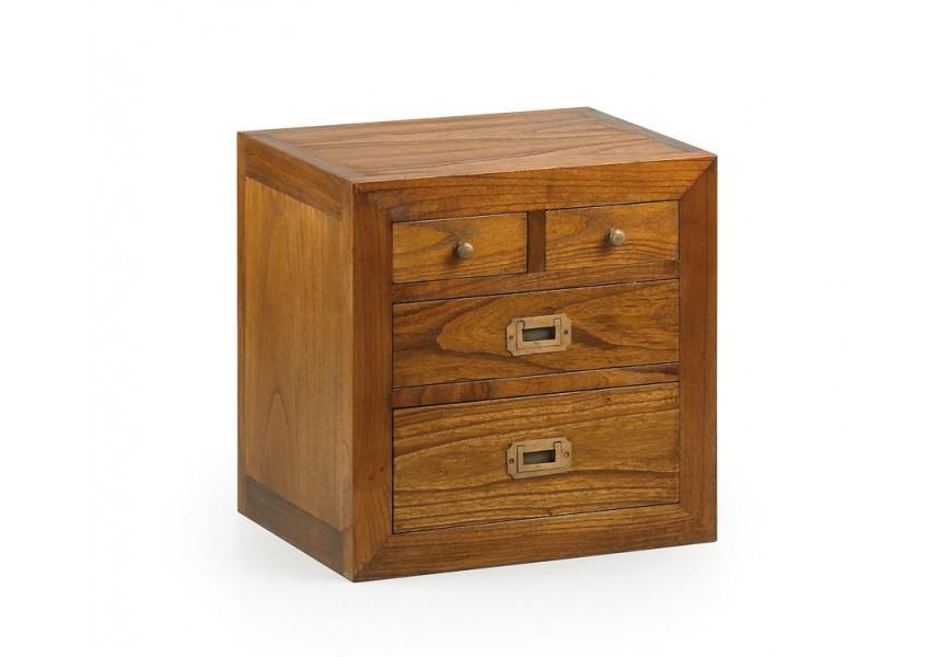 Elegantný masívny príručný stolík Star z dreva mindi so štyrmi zásuvkami