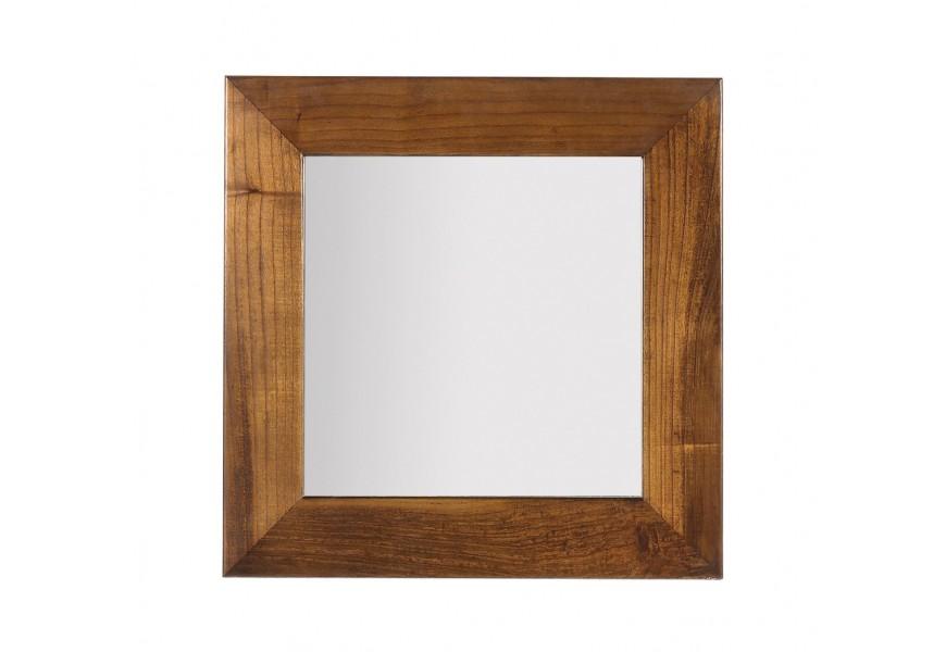 Elegantné nástenné štvorcové zrkadlo Star s rámom z masívneho dreva mindi