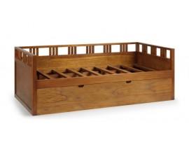 Luxusná dvojitá posteľ Star z dreva mindi hnedej farby s výsuvným roštom 205cm