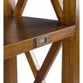 Koloniálny luxusný masívny regál Star z dreva mindi s tromi policami a dvomi zásuvkami 165cm