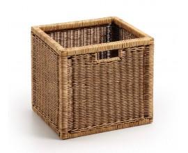 Štýlový vidiecky praktický košík Rattan obdĺžnikového tvaru v hnedej farbe z ratanového dreva s úchytmi