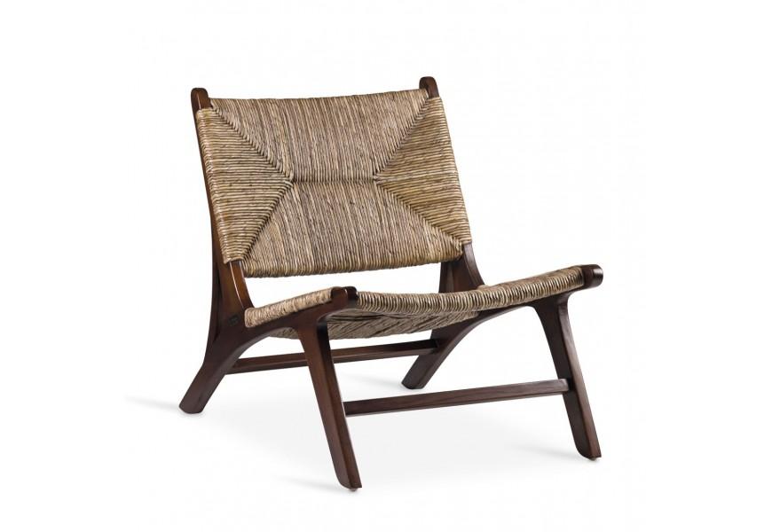 Luxusné dizajnové kreslo Rattan v hnedej farbe z masívneho teakového dreva a ratanu