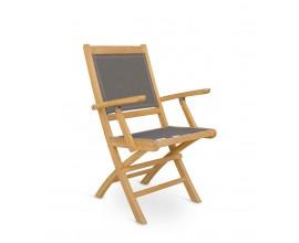 Masívna záhradná skladacia stolička Jardin z teakového dreva so sivým poťahom 90cm